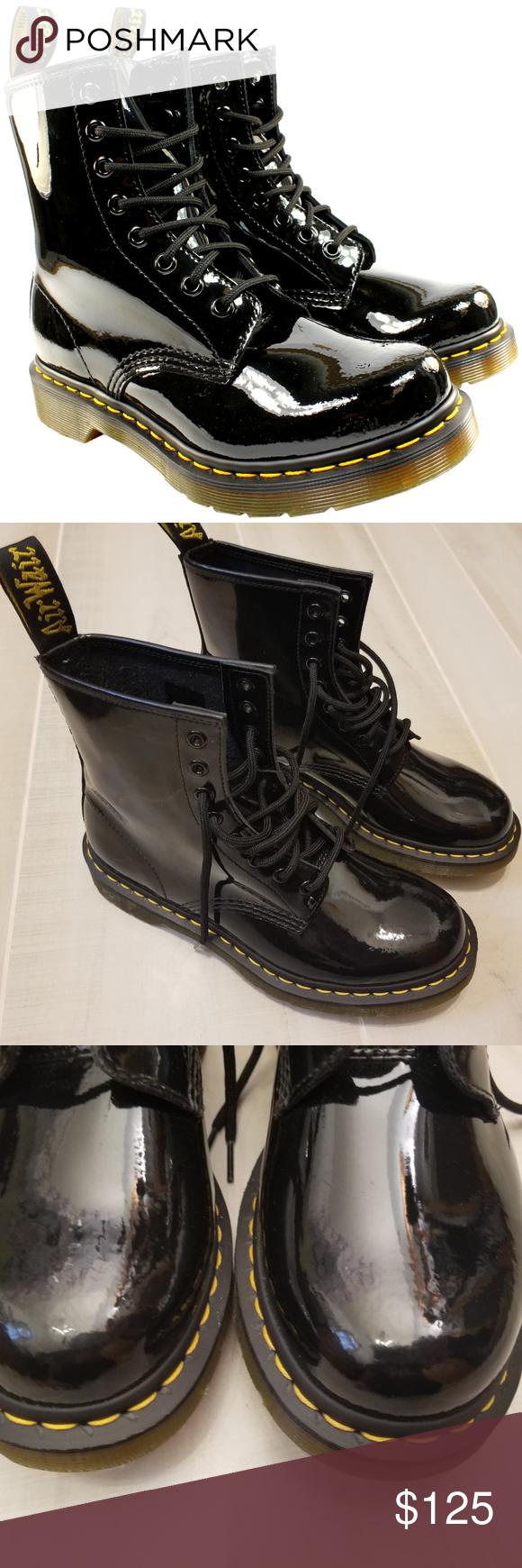 8 Dr Martens Patent Lamper 1460 Black Combat Boot Nwt Black Combat Boots Army Combat Boots Combat Boots