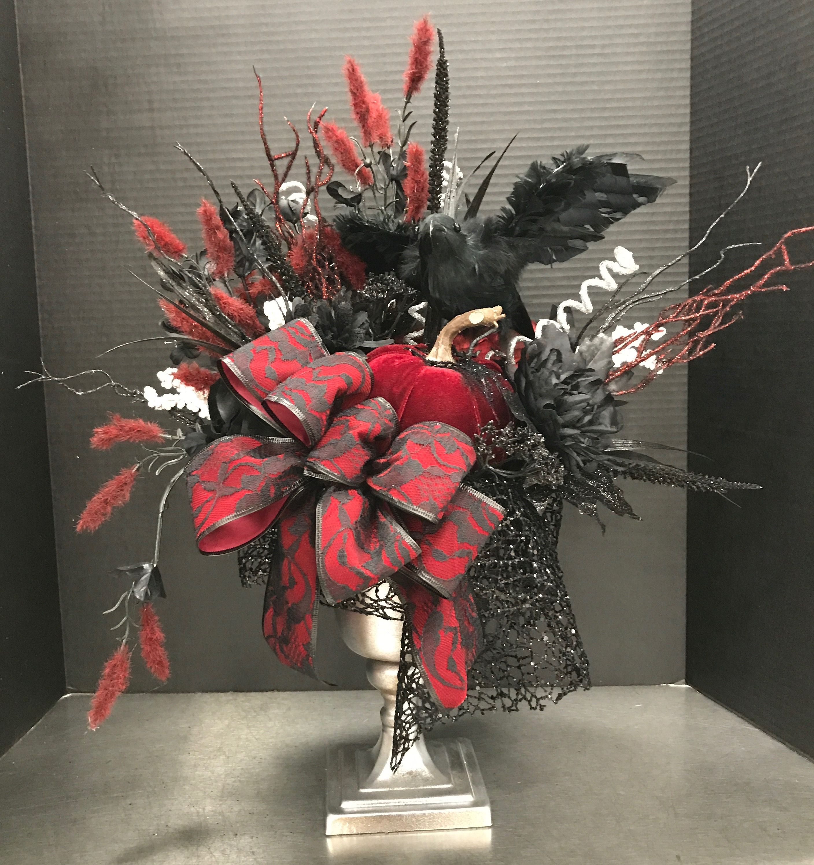 Red and Black Raven Centerpiece by Andrea Halloween