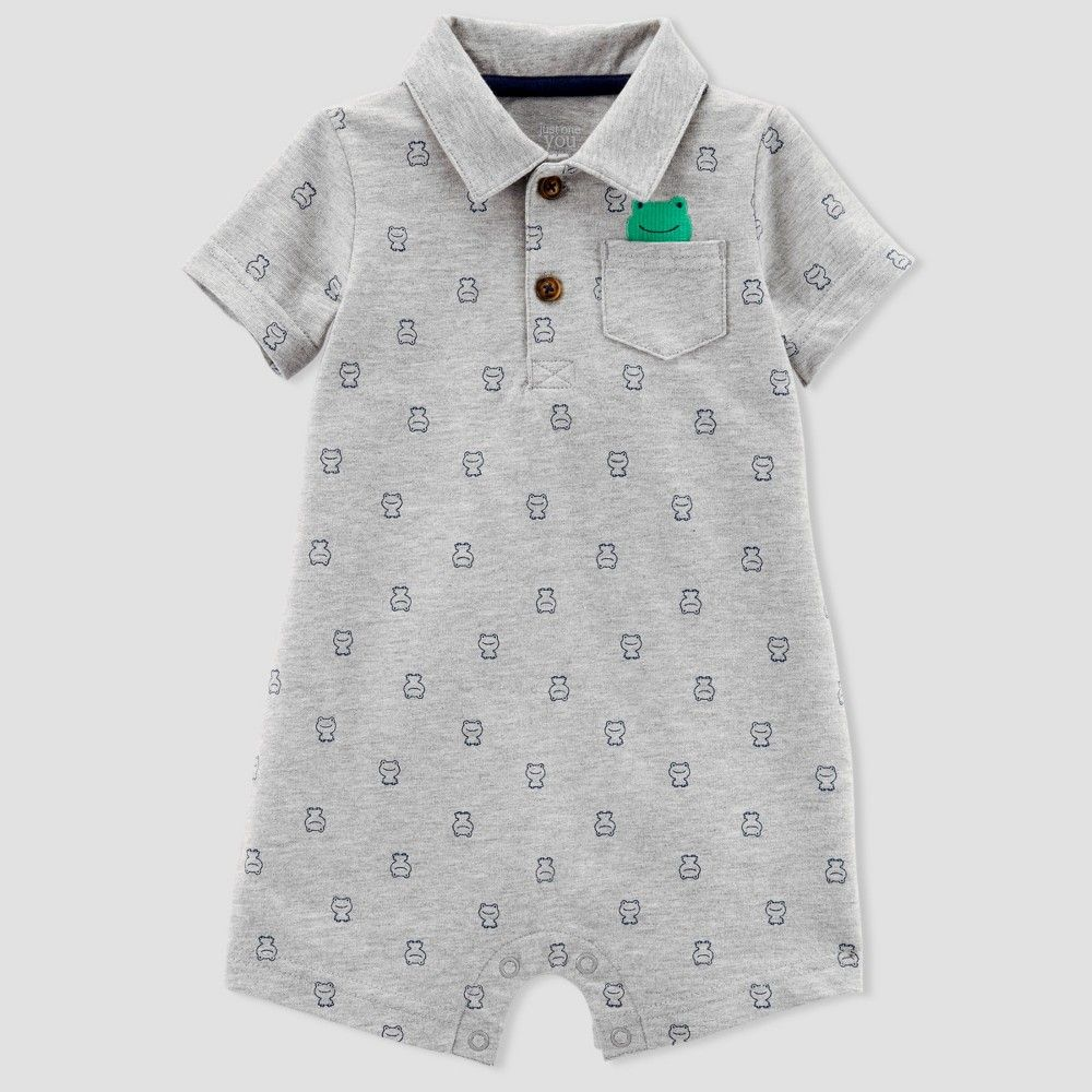 15c5e2a9f Baby Boys' 1pc Frog Polo Romper - Just One You made by carter's Gray 12M