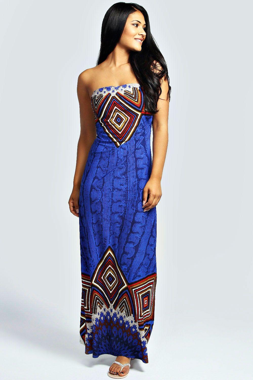 8abebe29ed3 Lizzie Aztec Print Bandeau Maxi Dress at boohoo.com