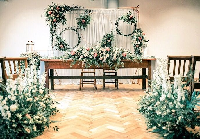 Wedding ceremony room floral styling