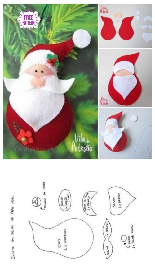 Christmas Craft: DIY Felt Santa Clause Ornament Free Sew Patterns & Tutorials #feltchristmasornaments