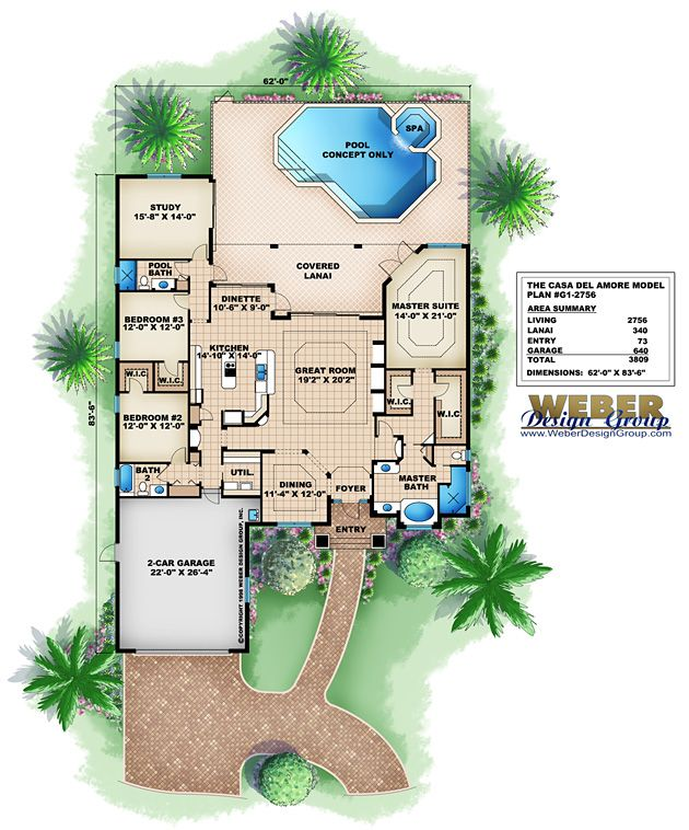 Waterfront House Plan Golf Course Waterfront Lot Home Floor Plan Florida House Plans Family House Plans Mediterranean Style House Plans