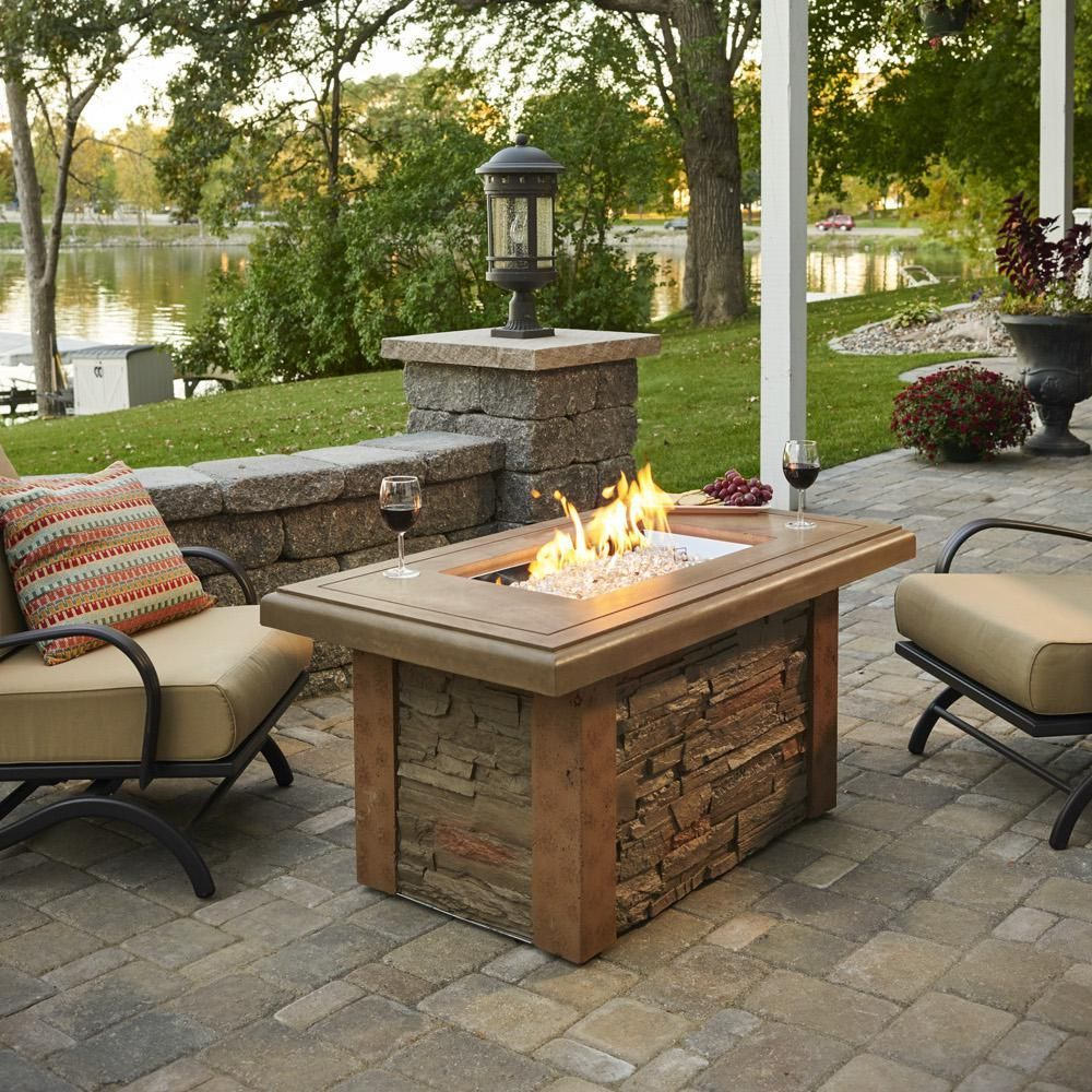 The Outdoor Greatroom Company Sierra 49 Linear Natural Gas Fire Pit Table With 24 Crystal Fire Burner Feuerstellen Sitz Gas Feuerstelle Feuerstelle Garten