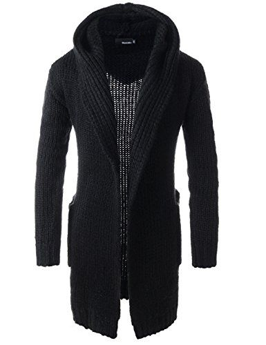 Mens Slim Fit Hooded 2 Pocket Shawl Collar Knitted Long