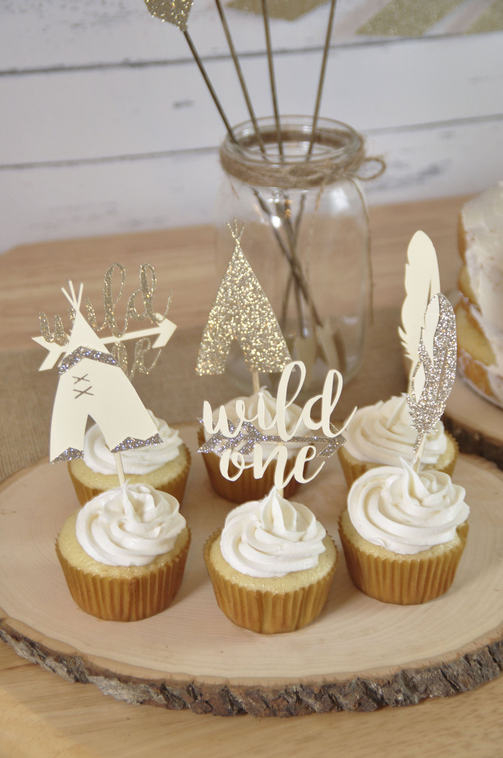 Custom made to order cupcake toppers wild one cupcake