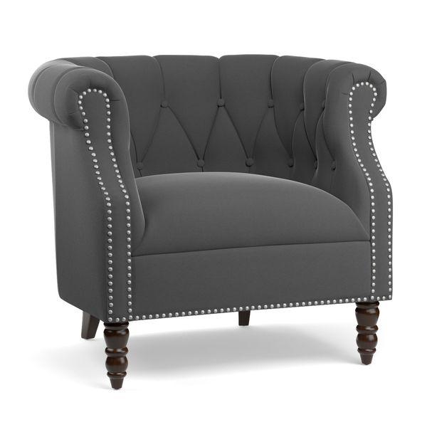 Portfolio Chesterfield Grey Velvet Arm Chair Overstock
