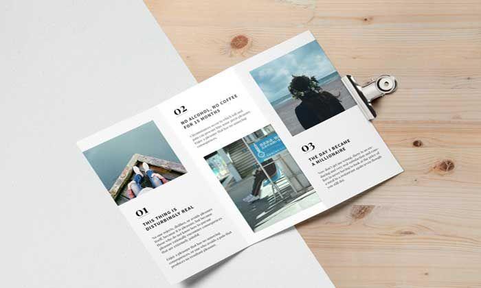 Free Tri Fold Brochure MockUp PSD Mockup Pinterest Tri fold - gate fold brochure mockup