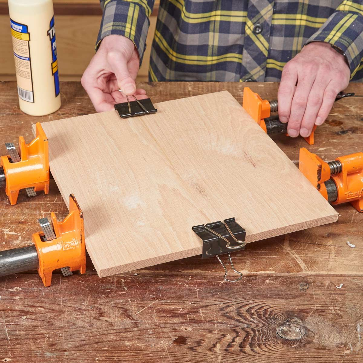 binder clips make perfect mini clamps for glue-ups