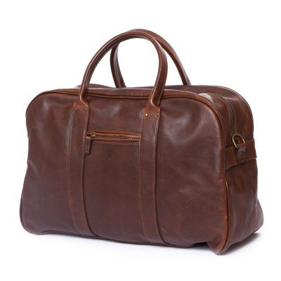 Taylor - Leather Duffel Bag in Titan Milled Brown Leather - Angled View