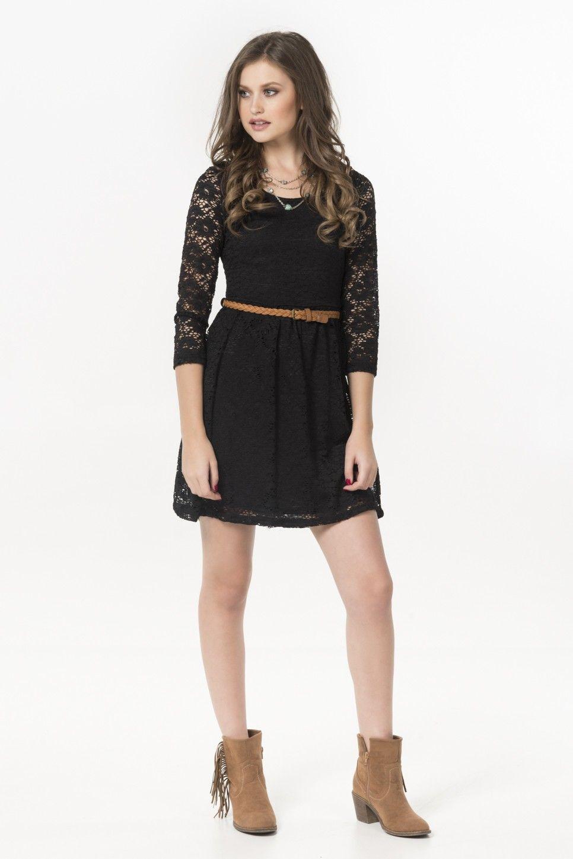 Black lace 3 4 sleeve belted skater dress - Dresses - Clothing ... f2054958f