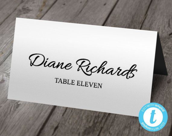 Print Your Own Beautiful Wedding Or Event Place Cards In A Flat Folded Style