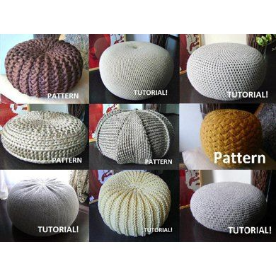9 Knitted & Crochet Pouf Floor cushion Patterns Crochet Pattern Knit ...