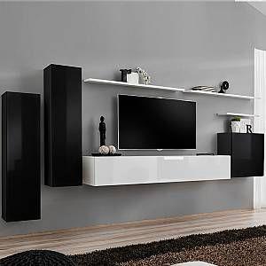 Kasalinea Meuble Tv Suspendu Noir Et Blanc Solendro 2 En 2020 Meuble Tv Suspendu Meuble Tv Meuble Tv Mural