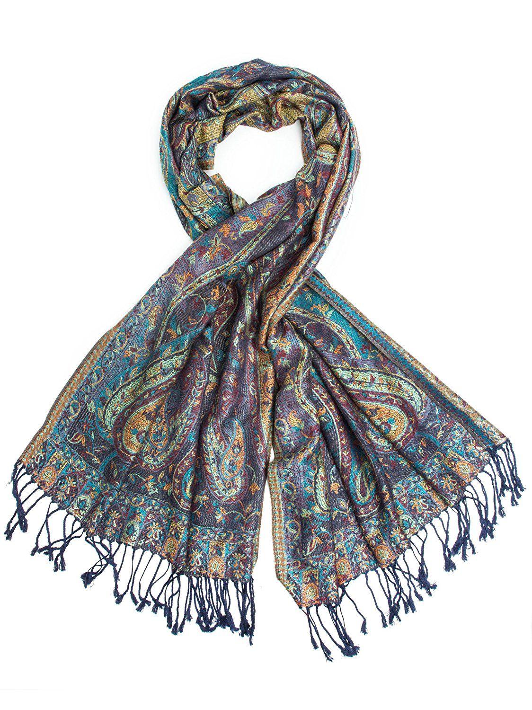 NEW Women Soft PASHMINA SILK Classic Paisley Wool Scarf Wrap Shawl Salmon Blue