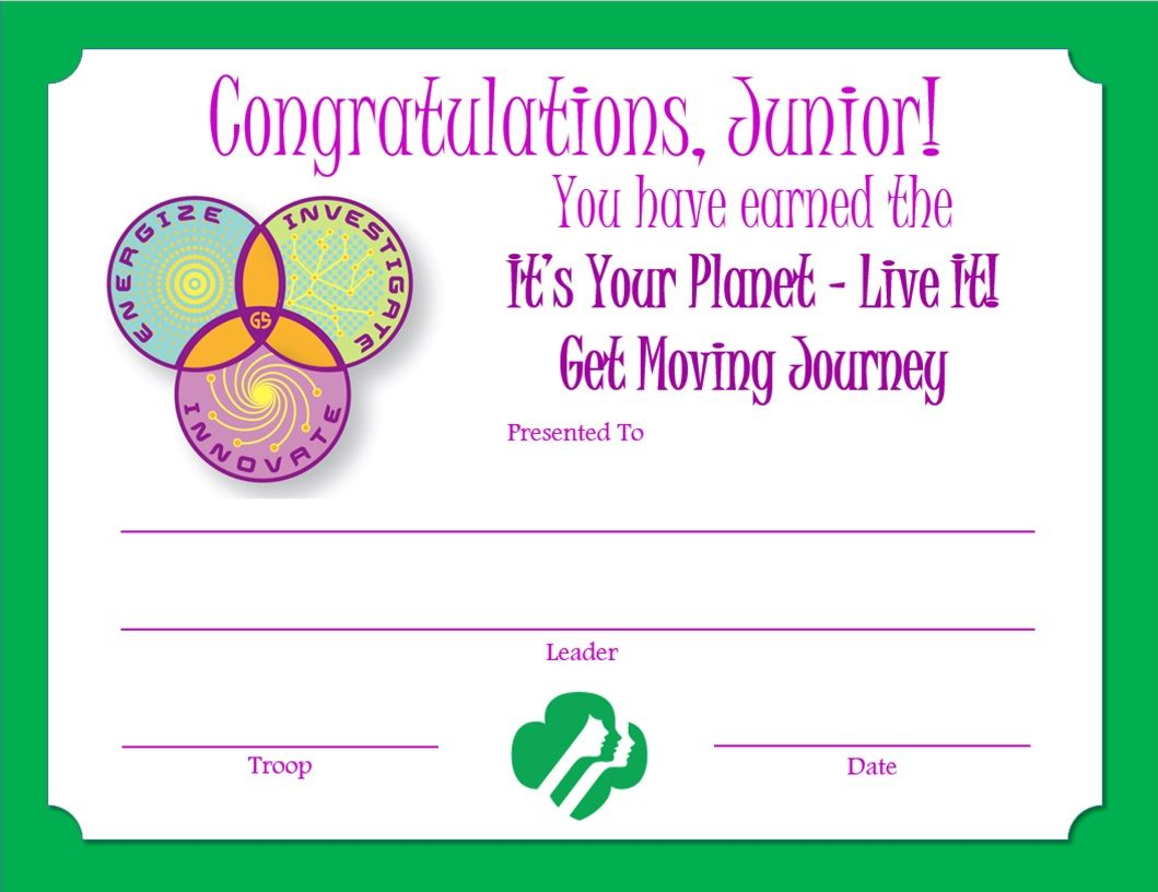 Girl scout certificate templates of junior get moving girl scout certificate templates of junior get moving journey award certificate girl pronofoot35fo Image collections