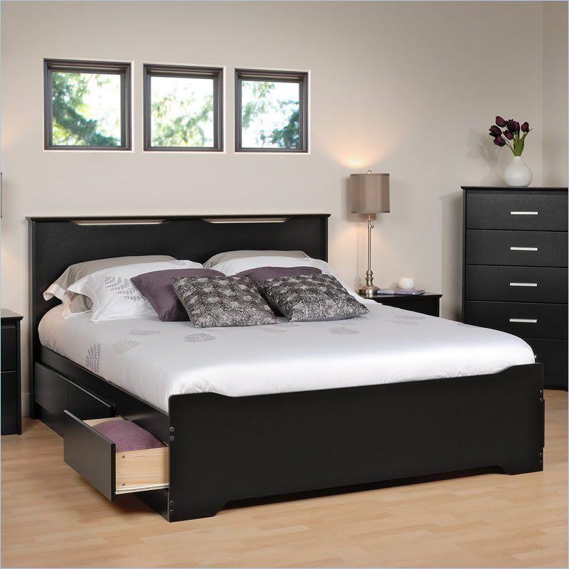 Prepac Coal Harbor Platform Storage Bed In Black Home Bedroom