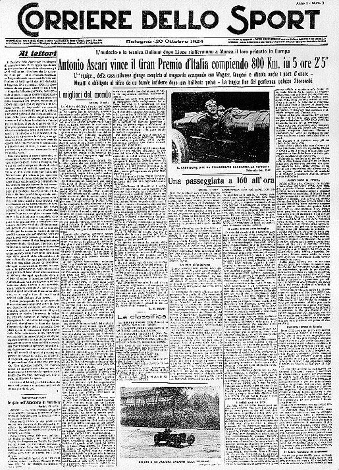 Il Primo Numero Del Corriere Dello Sport Fondato A Bologna Il 20 Ottobre 1924 Sport Giornale