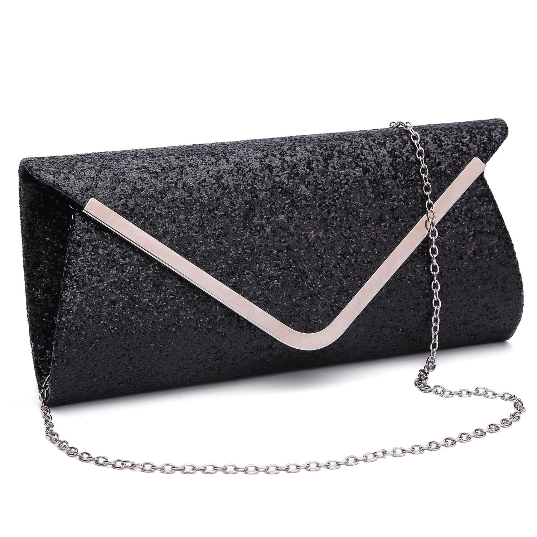 f9f2fd403 Glitter Sequin Envelope Clutch Purses Evening Bag Handbags for Women Girl.
