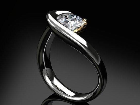 Dimond Ring Design | Modern Flowing Palladium Diamond Engagement Ring Diamond Ring