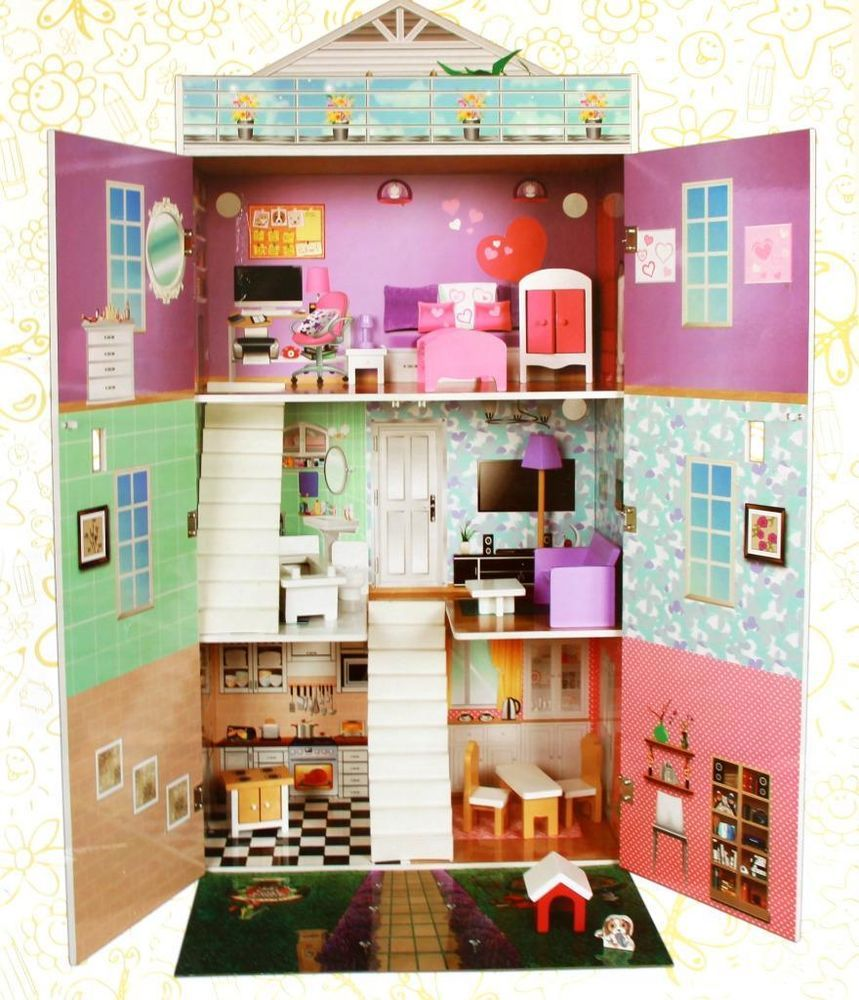 Tinkers Large 3 Story Northampton Wooden Dolls House With Furniture 127cm High Wooden Dollhouse Barbie Doll House Doll House