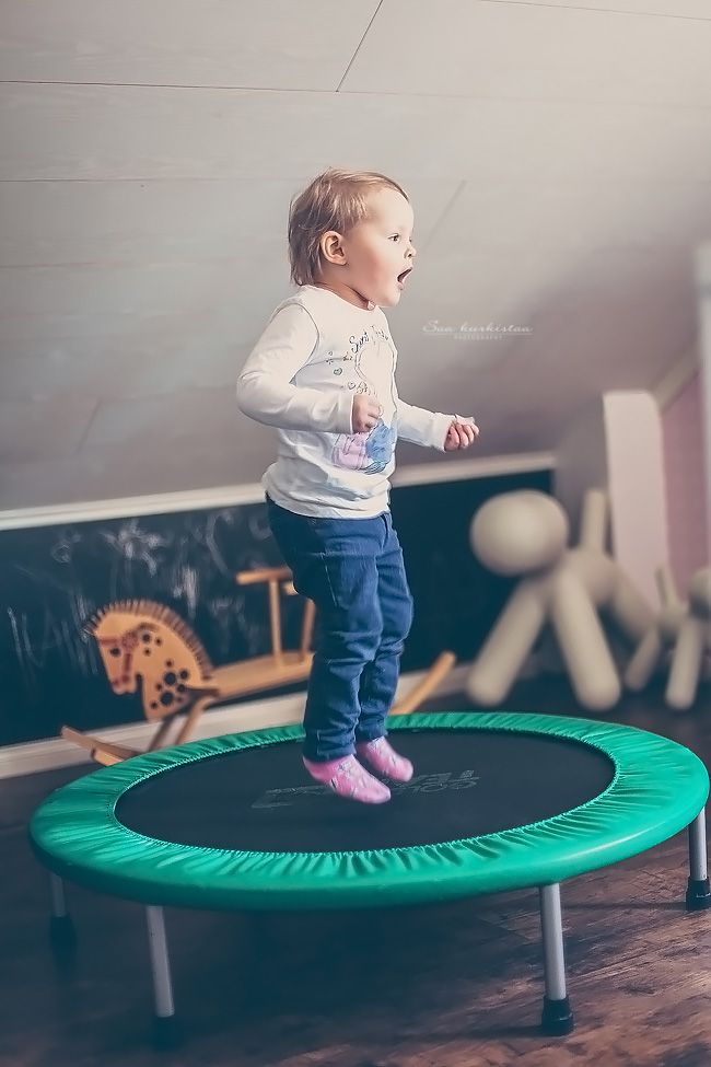 Mini trampoline in playroom