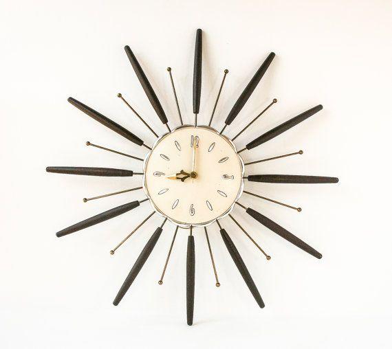 Vintage Starburst Wall Clock Retro Mid Century Modern Atomic Decor