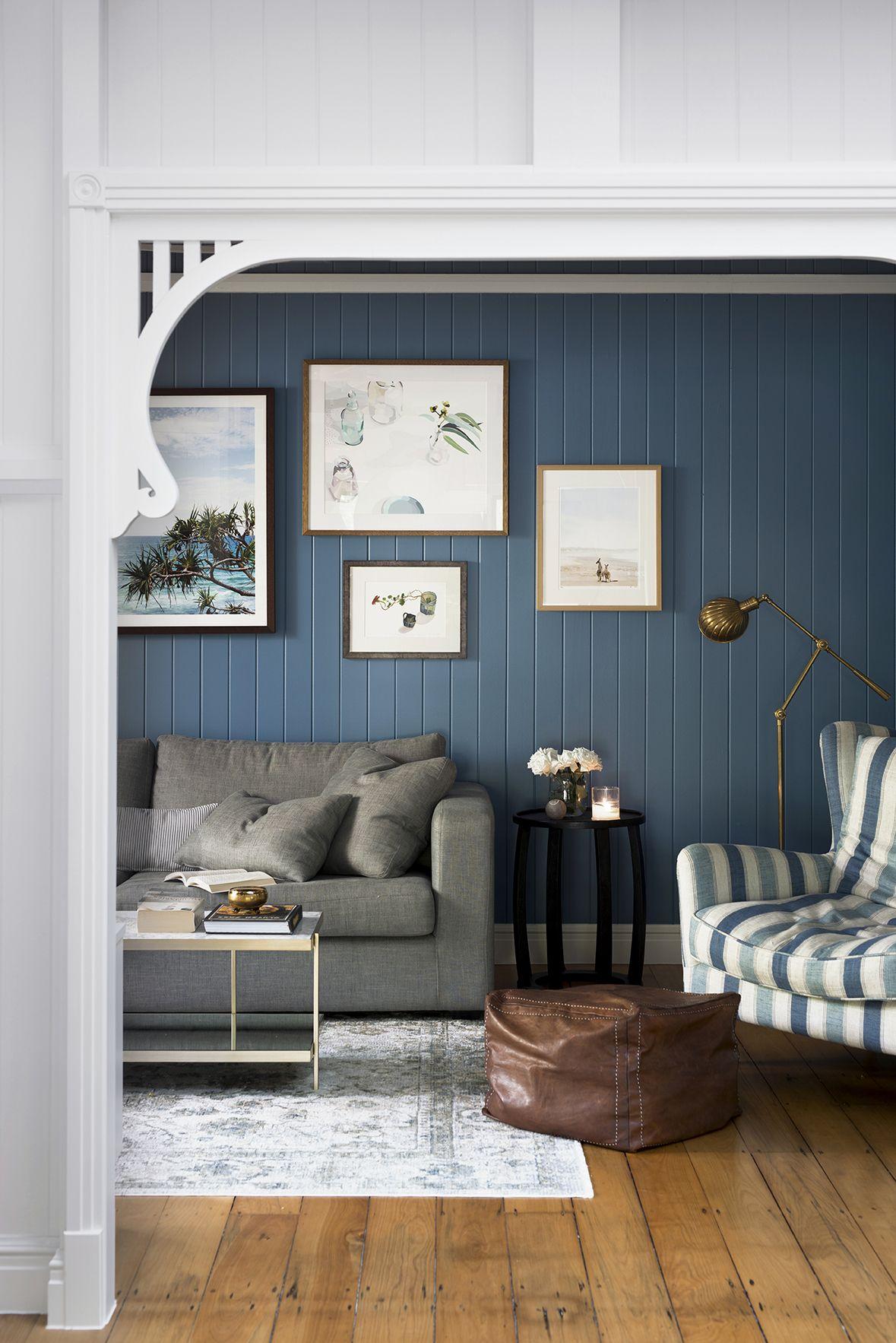 Home Interior Design Game Online: Queenslander Living Room With Blue VJ Walls
