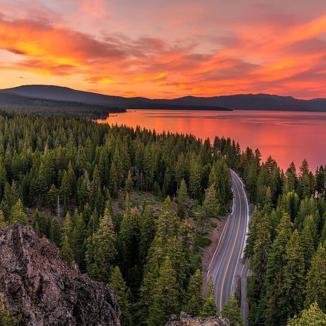"""Lake Tahoe, CA & NV on Instagram: """"Fire sunset from Eagle Rock 🔥  Did you ever hiked here? 📷 @ryancwaddell . Follow @laketahoe.official for more pictures of Tahoe . Tag…"""""""