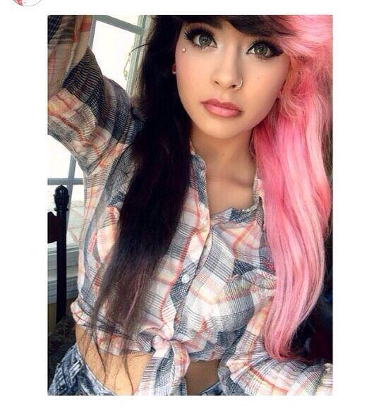 Beautiful Half Black Half Pink Hair Pink And Black Hair Scene Hair Hair