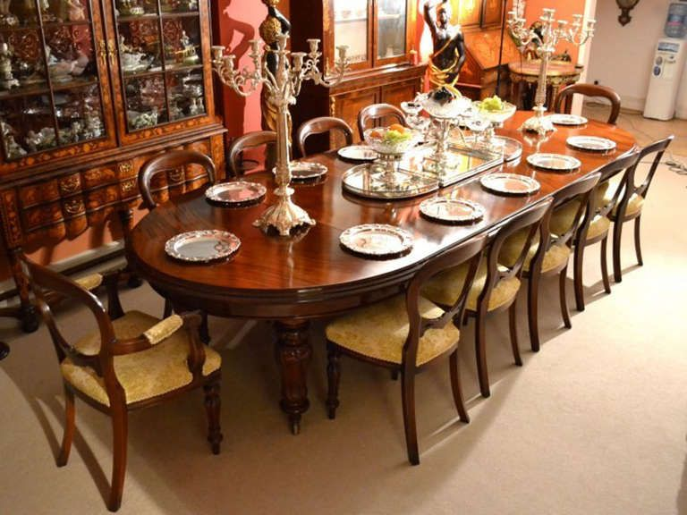 Antique 12ft Victorian Dining Table 12 Chairs C1860