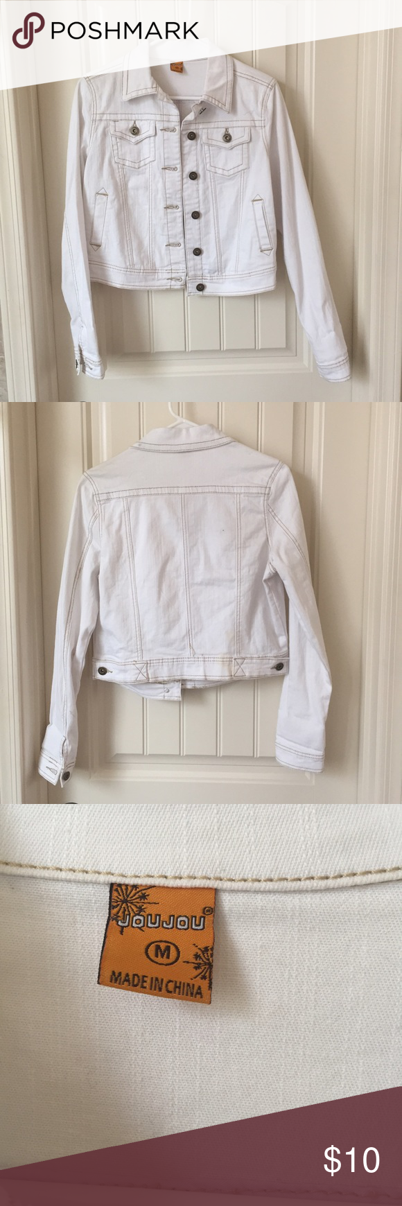 Women's jean jacket Never worn white jean jacket. In excellent condition with small stain on the bottom of the back as seen in the pictures. It's hardly noticeable and I almost missed it when I was taking pictures. Super cute I just never wear it. Jou Jou Jackets & Coats Jean Jackets