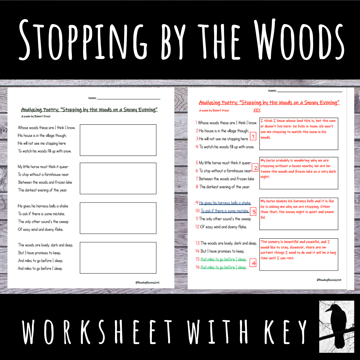 Analyze The Poem Stopping By Wood On A Snowy Evening Robert Frost Poetry Analysi Worksheet Analysis Raven Annotated