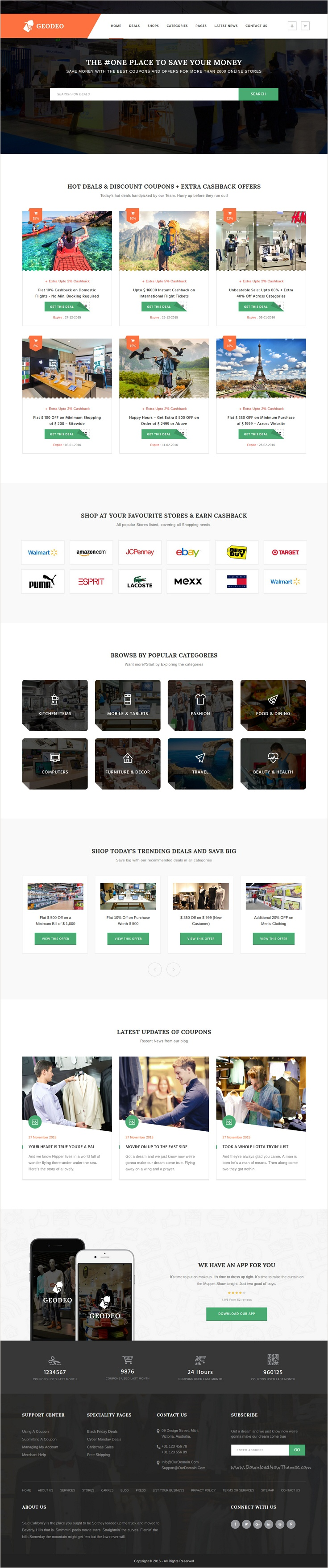 Geodeo - Coupon & Deals HTML Template | Api key