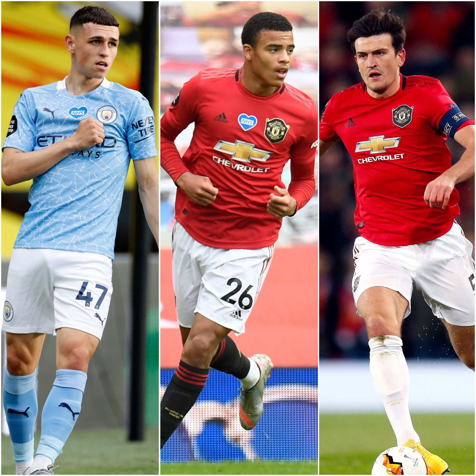 Phil foden mason greenwood harry maguire england