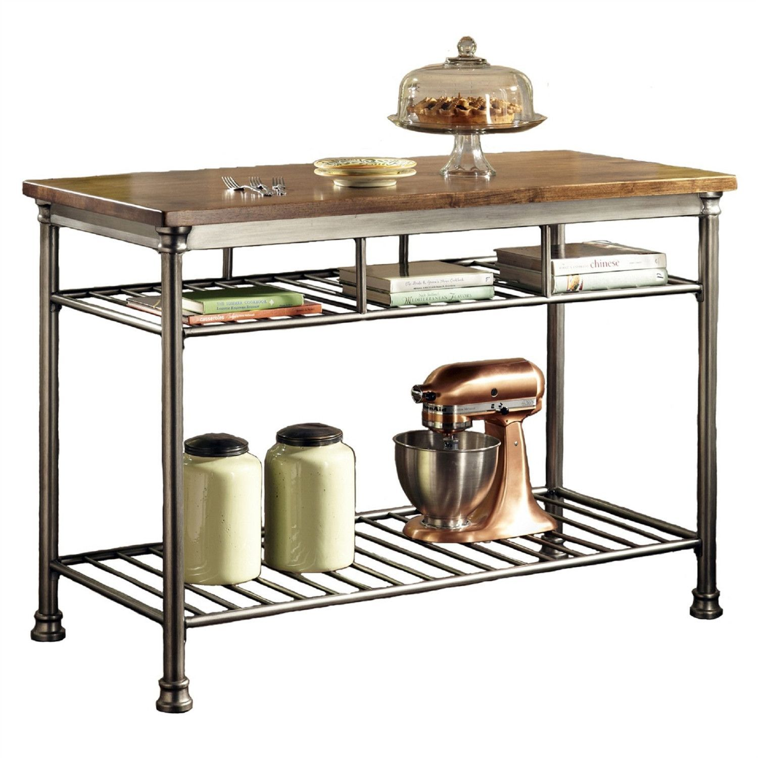 Classic French Style Hardwood Butcher Block Top Metal Kitchen - Metal butcher table