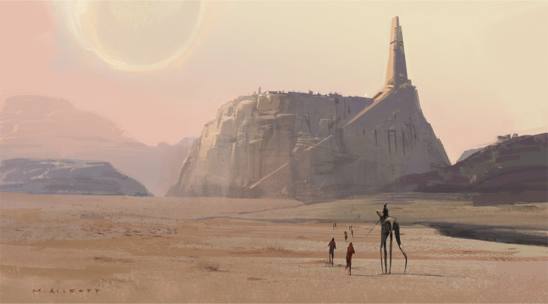 Jedha Exterior Version 1A /Allsopp. The Art of Rogue One: A Star Wars Story by Josh Kushins, and Lucasfilm Ltd. © Abrams Books, 2016(C) 2016 Lucasfilm Ltd. And TM. All Rights Reserved. Used Under Authorization.