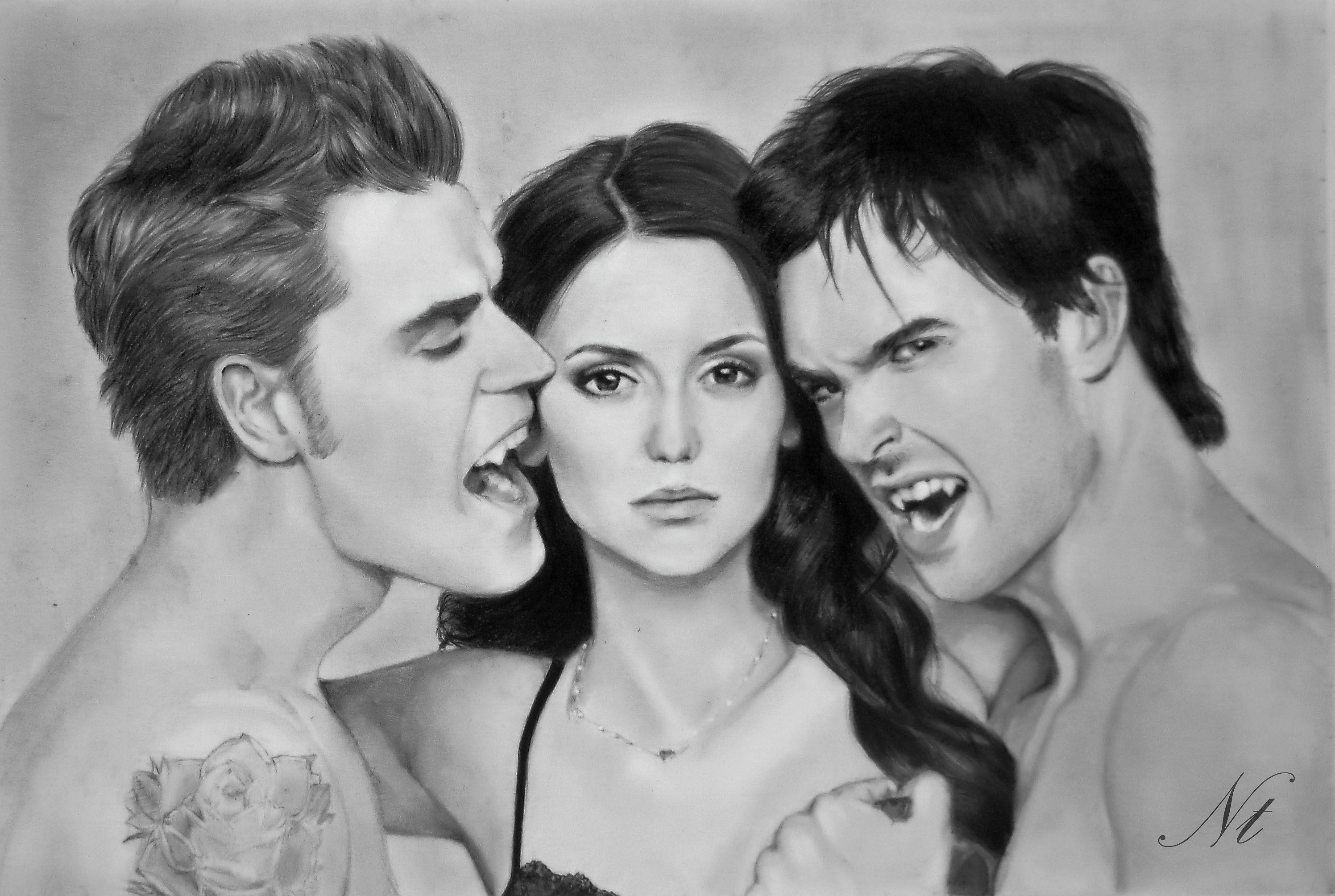 The Vampire Diaries By Natlina On Deviantart Vampire Drawings Vampire Diaries Vampire Diaries Poster