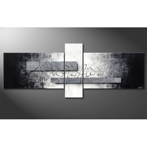 Silver Signs 3 Piece Framed Wall Art Set On Canvas Home Frames