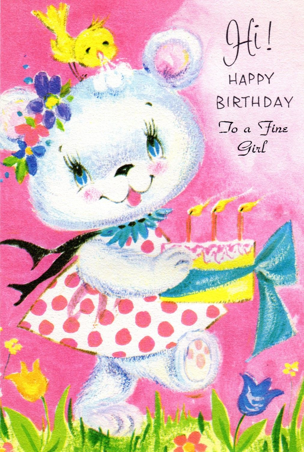 Pink birthday card girl child vintage 1960s to a fine girl bunny pink birthday card girl child vintage 1960s to a fine girl bunny rabbit bird nos unused bookmarktalkfo Choice Image