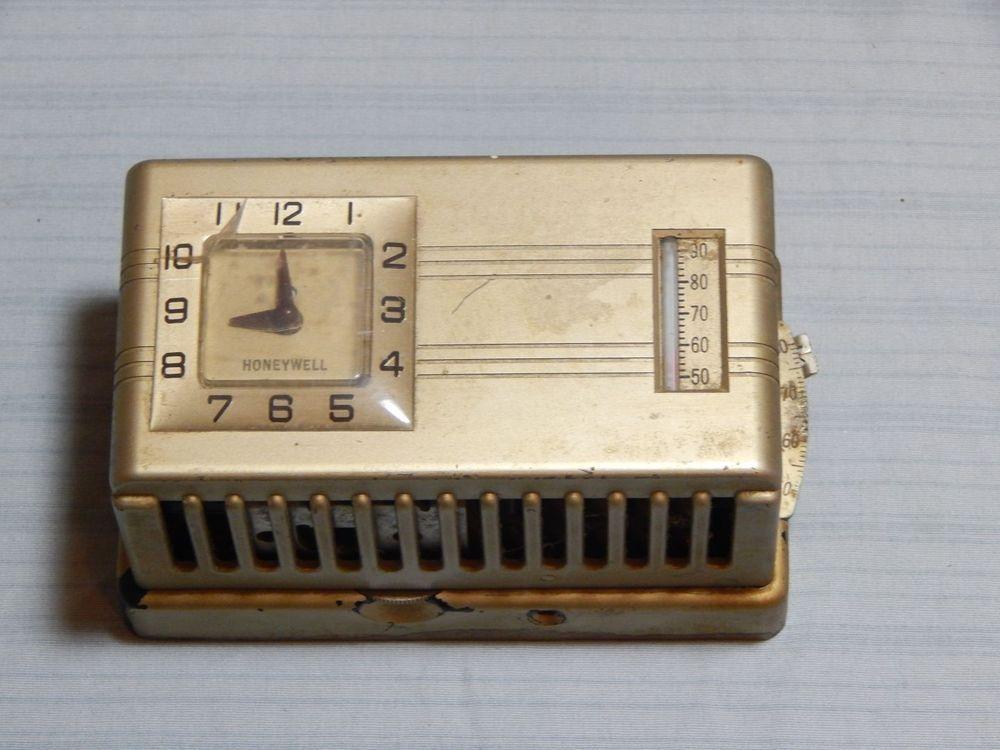 Vintage Honeywell Chronotherm Thermostat W Clock