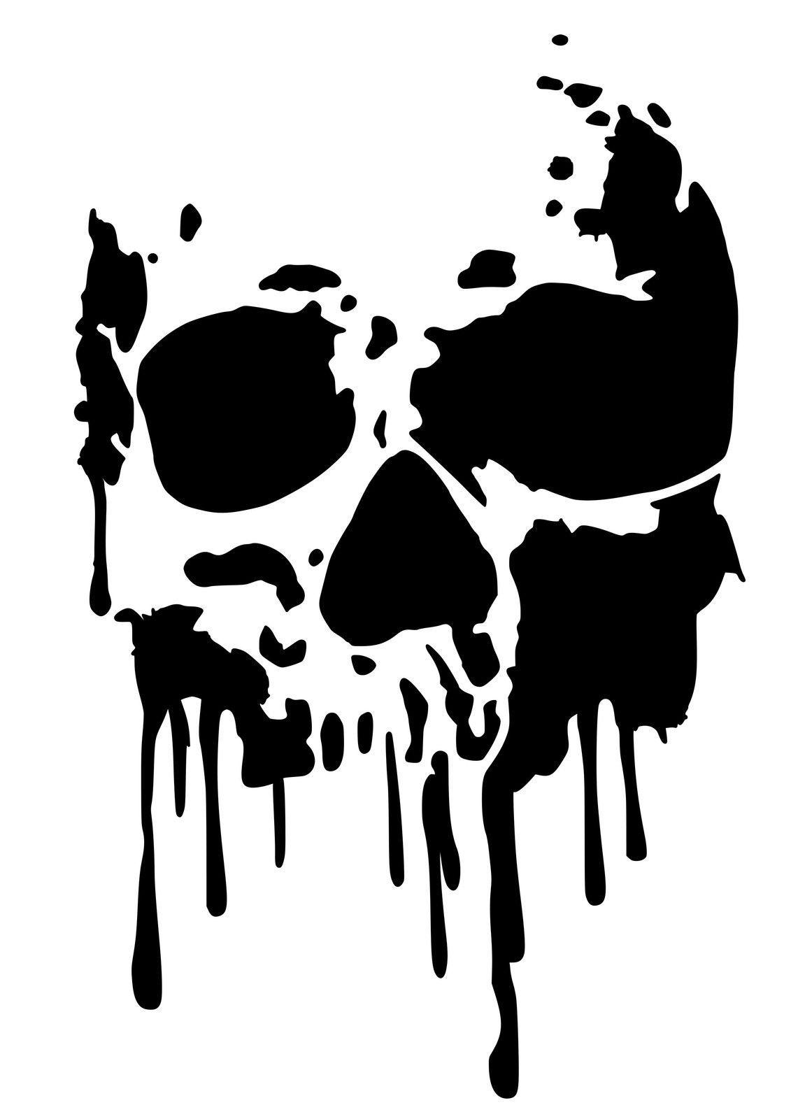 High Detail Dripping Skull Airbrush Stencil Free Uk