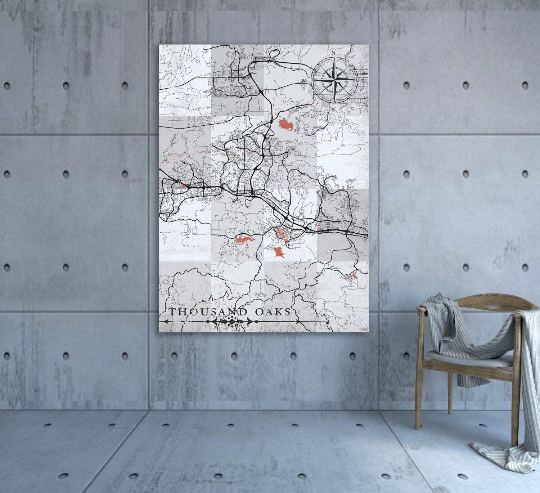 THOUSAND OAKS CA Canvas Print California Vintage map Thousand Oaks