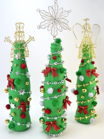 Wine Bottle Christmas Tree Craft.Pin On Crafts