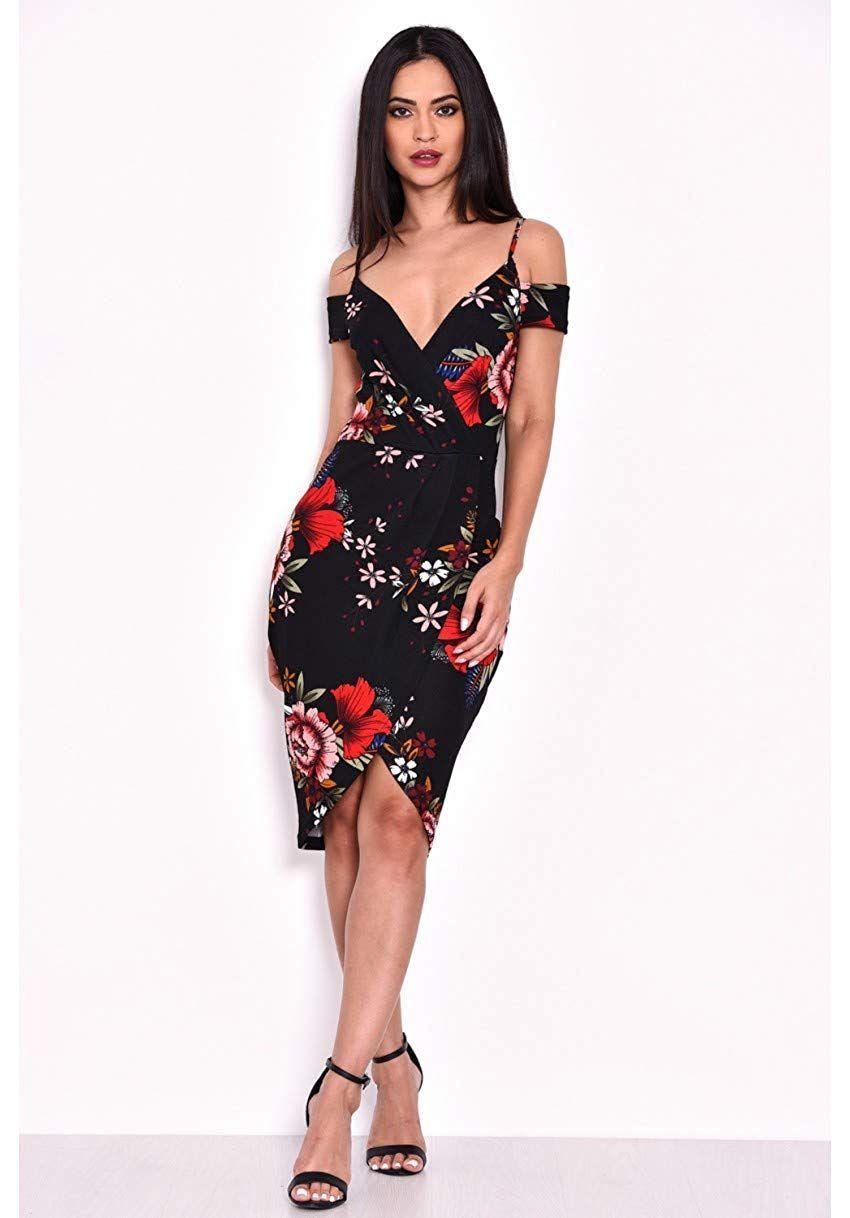 a869e10717 AX Paris Women s Strappy Off The Shoulder Wrap Dress at Amazon Women s  Clothing store
