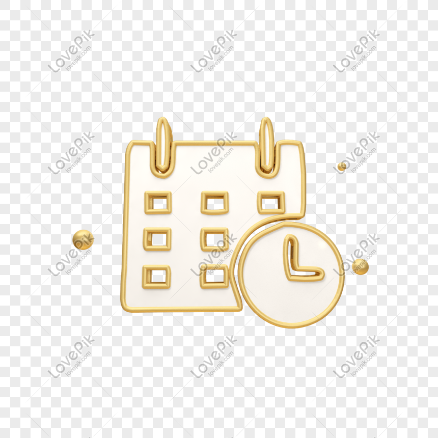 أيقونة وقت التقويم الذهبي Time Icon Calendar Time Frame Clipart