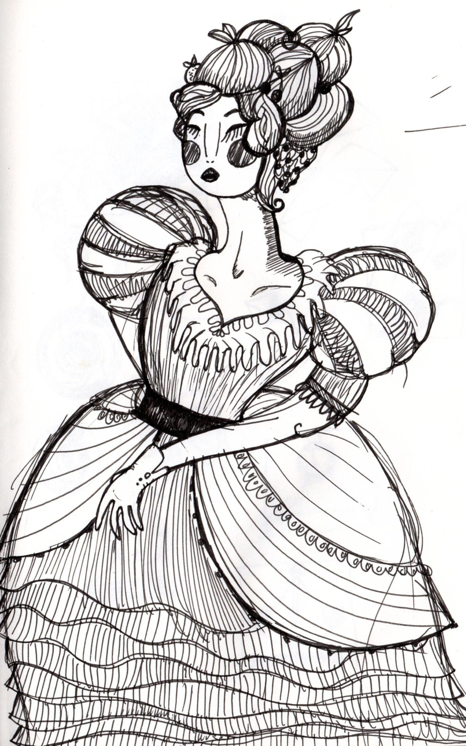 damina cinese  Zazzi illustratrice  #ink #chinese #dress