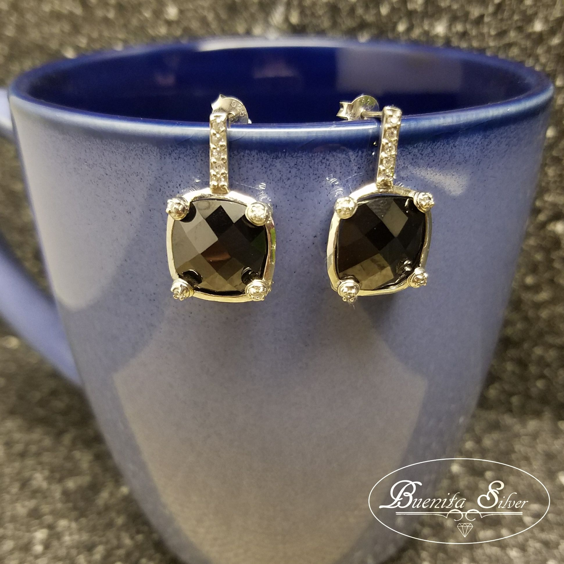 Sterling Silver CZ Gunmetal Square Earrings
