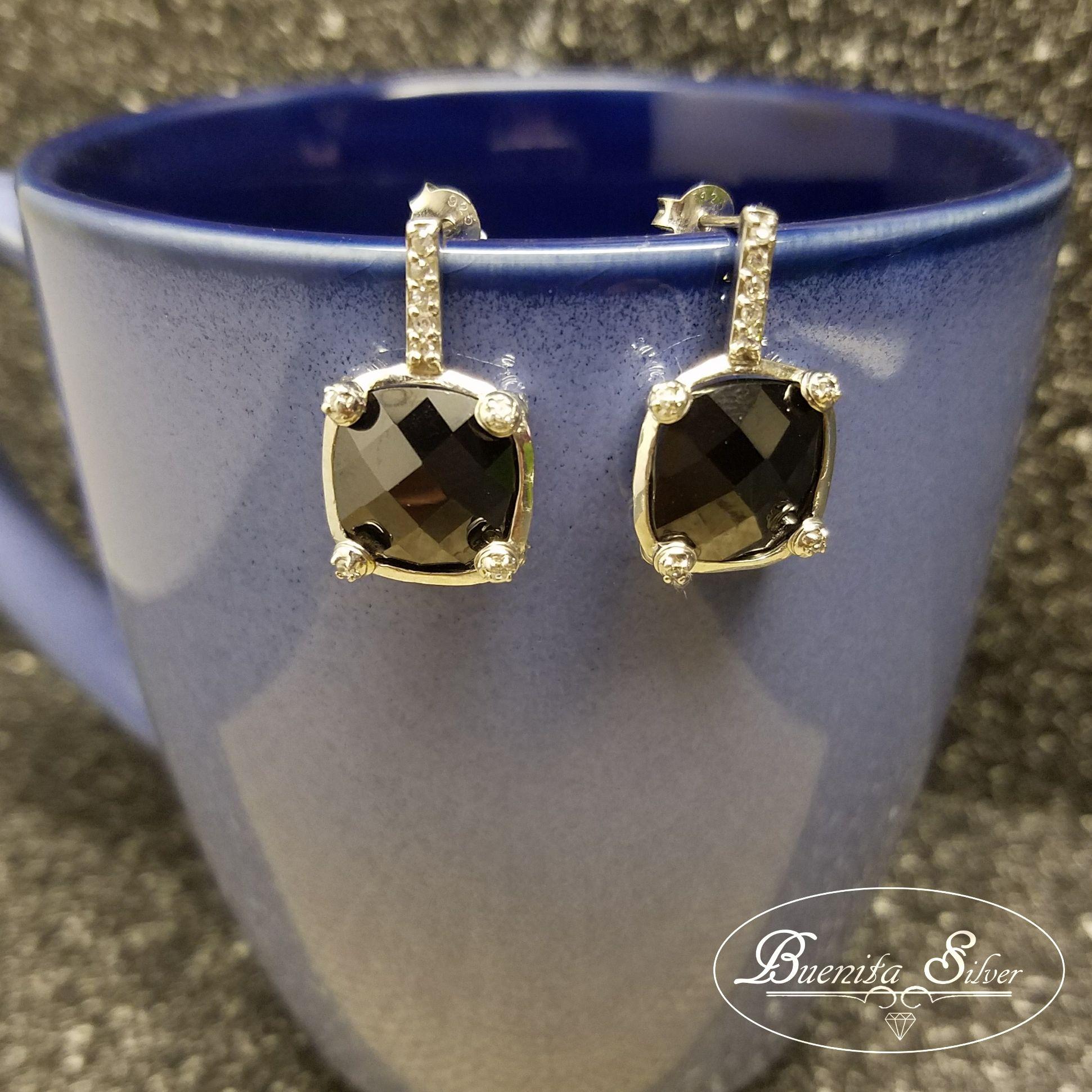 Sterling Silver CZ Gunmetal Square Earrings
