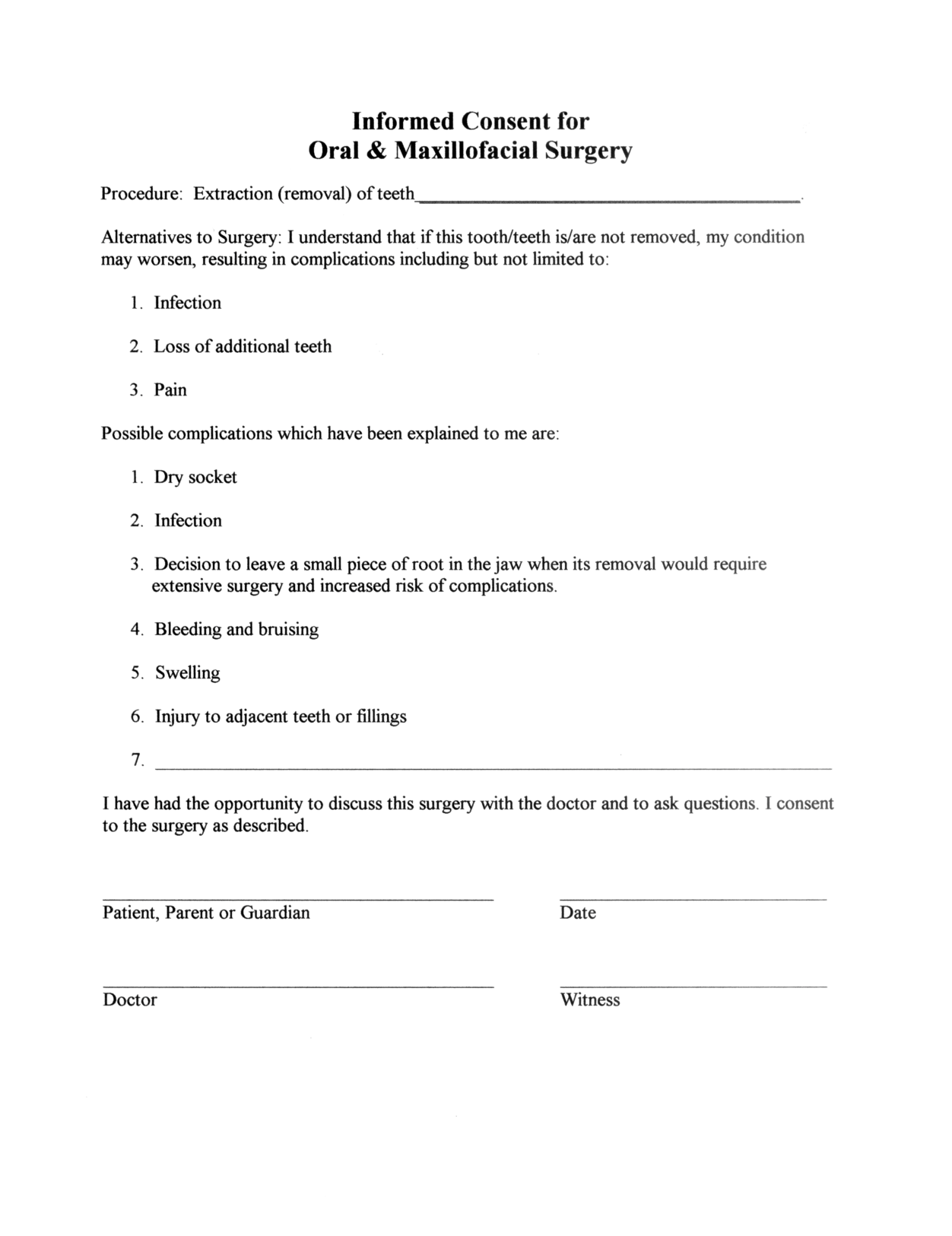 Surgery Informed Consent Form Template  Consent Form